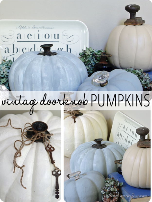 34 Pumpkin Decorations For Fall - Vintage Doorknob Pumpkins - Easy DIY Pumpkin Decor Ideas for Home, Yard, Outdoors - Cool Pumpkin Decorating Ideas for Adults and Kids Party, Creative Crafts With Paint, Glitter and No Carve Projects for Halloween http://diyjoy.com/pumpkin-decorations-fall