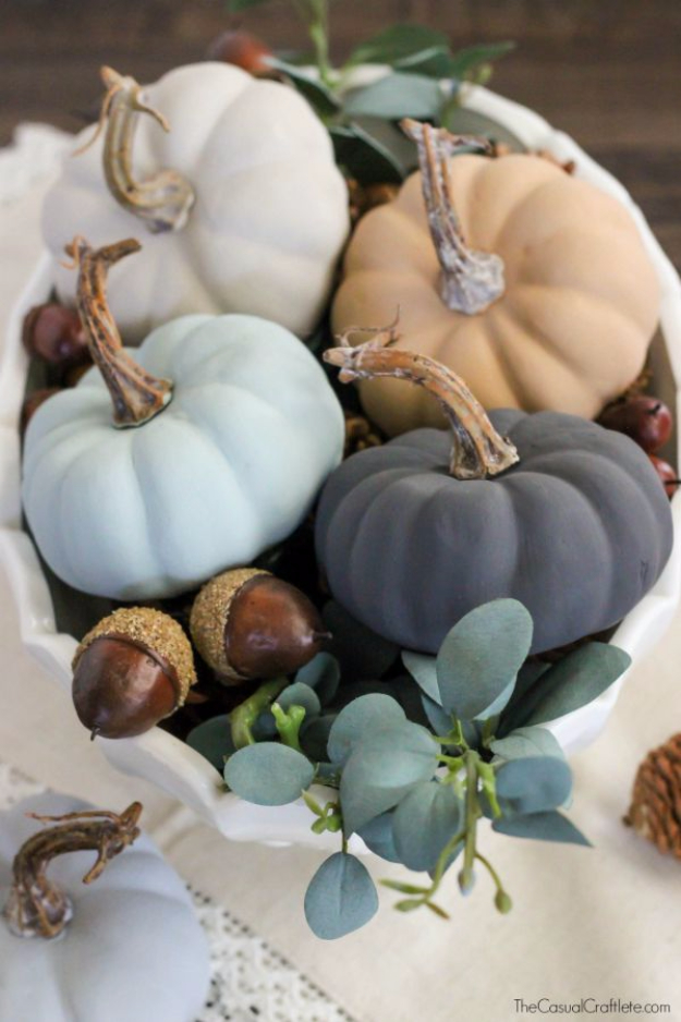 34 Pumpkin Decorations For Fall - Vintage Inspired Chalky Paint Pumpkins - Easy DIY Pumpkin Decor Ideas for Home, Yard, Outdoors - Cool Pumpkin Decorating Ideas for Adults and Kids Party, Creative Crafts With Paint, Glitter and No Carve Projects for Halloween