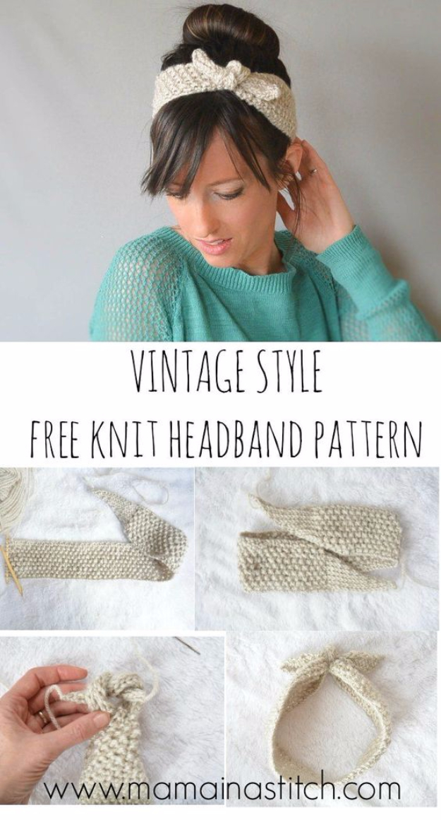38 Easy Knitting Ideas - Vintage Knit Tie Headband - Knitting Ideas For Beginners, Cute Kinitting Projects, Knitting Ideas And Patterns, Easy Knitting Crafts, Gifts You Can Knit#diy #knitting