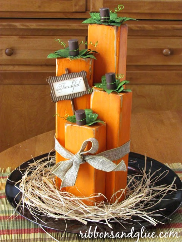 38 Best DIY Projects for Fall - Wood Block Pumpkins - Quick And Easy Projects For Fall, Fun DIY Projects To Try This Fall, Cute Fall Craft Ideas, Fall Decors, Easy DIY Crafts For Fall http://diyjoy.com/diy-projects-for-fall
