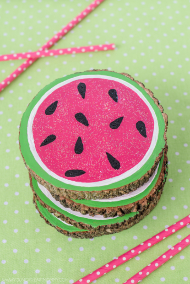 Dollar Store Crafts - Wood Slice Watermelon Coasters - Best Cheap DIY Dollar Store Craft Ideas for Kids, Teen, Adults, Gifts and For Home #dollarstore #crafts #cheapcrafts #diy