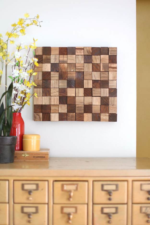 DIY Wall Art Ideas for the Bedroom - Wooden Block Mosaic Art DIY - Rustic Decorating Projects For Bedroom, Brilliant Wall Art Projects, Creative Wall Art, Do It Yourself Crafts, Easy Wall Art, Bedroom Decor on a Budget, Bedroom - Paintings, Canvas Art Ideas, Wall Hangings