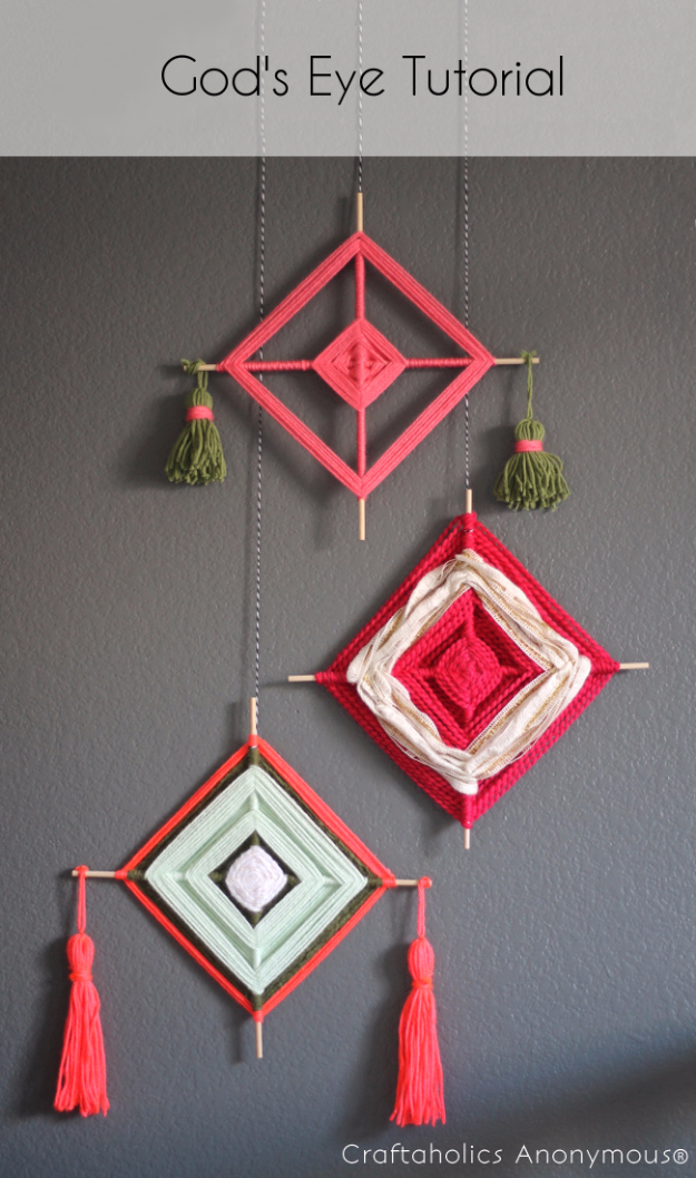 Clever DIYs Made With Yarn - Yarn God's Eye Tutorial - Yarn Crafts To Try, Easy Yarn DIYs, Fun Crafts To Do With Yarn, Wall Art, Awesome Yarn Ideas, Yarn DIY Projects, Brillian Yarn Craft Tutorials http://diyjoy.com/diy-yarn-crafts