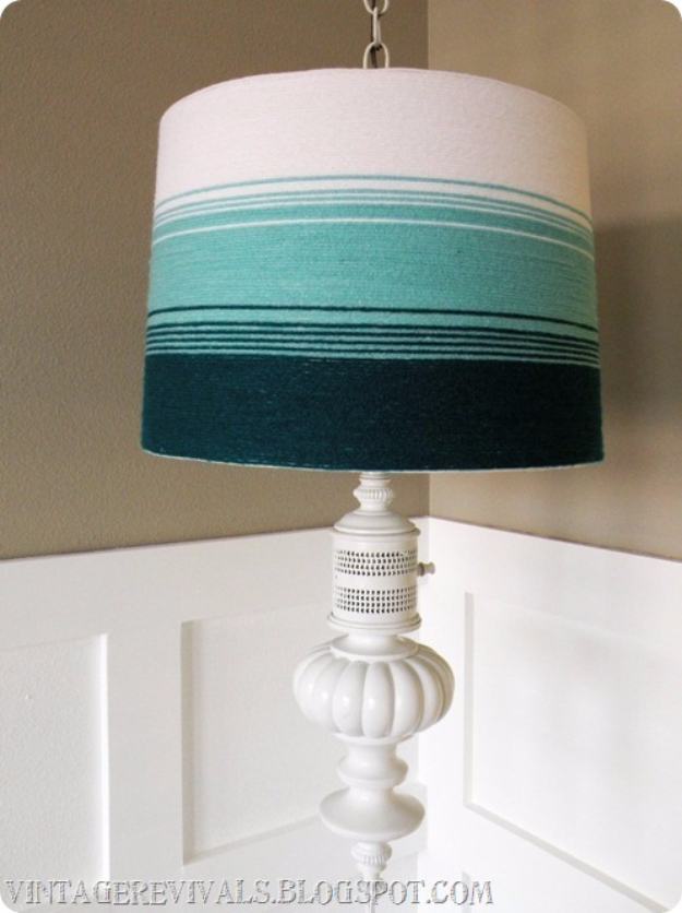 Clever DIYs Made With Yarn - Yarn Ombre Lampshade Tutorial - Yarn Crafts To Try, Easy Yarn DIYs, Fun Crafts To Do With Yarn, Wall Art, Awesome Yarn Ideas, Yarn DIY Projects, Brillian Yarn Craft Tutorials http://diyjoy.com/diy-yarn-crafts