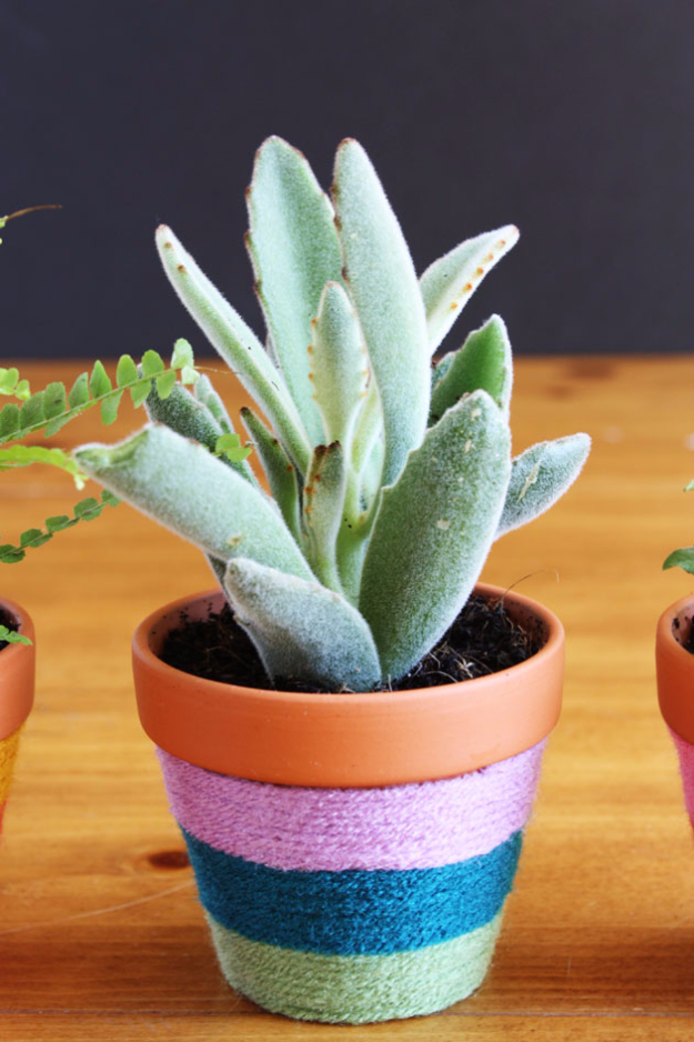 Clever DIYs Made With Yarn - Yarn Wrapped Flower Pots - Yarn Crafts To Try, Easy Yarn DIYs, Fun Crafts To Do With Yarn, Wall Art, Awesome Yarn Ideas, Yarn DIY Projects, Brillian Yarn Craft Tutorials http://diyjoy.com/diy-yarn-crafts