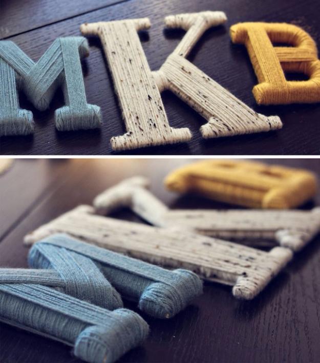 Clever DIYs Made With Yarn - Yarn Wrapped Letters - Yarn Crafts To Try, Easy Yarn DIYs, Fun Crafts To Do With Yarn, Wall Art, Awesome Yarn Ideas, Yarn DIY Projects, Brillian Yarn Craft Tutorials http://diyjoy.com/diy-yarn-crafts