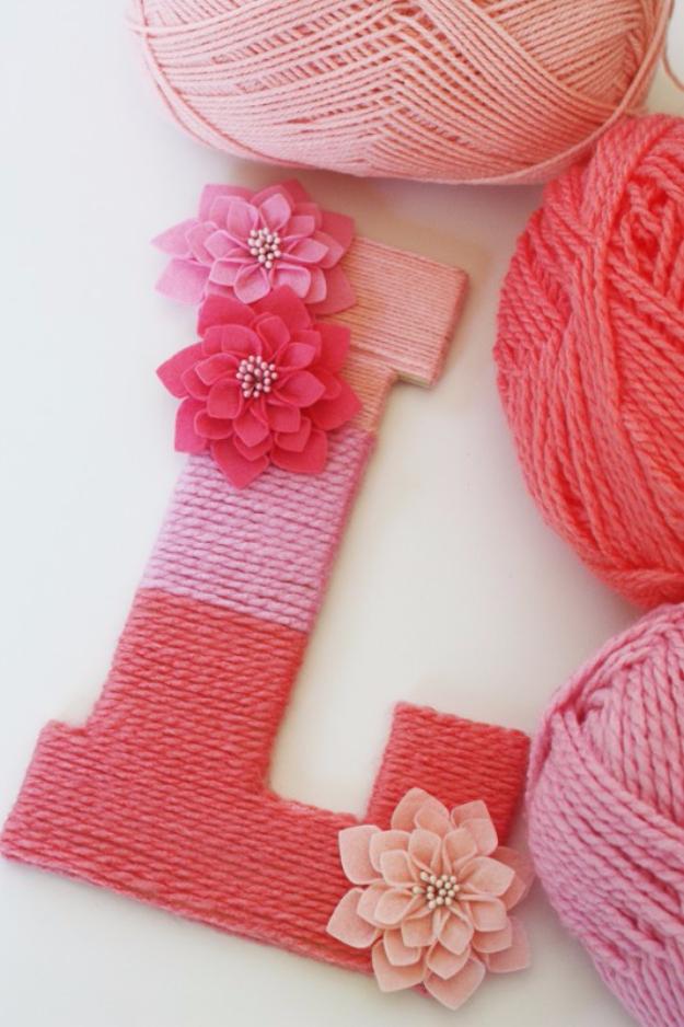 Clever DIYs Made With Yarn - Yarn Wrapped Ombre Monogrammed Letter - Yarn Crafts To Try, Easy Yarn DIYs, Fun Crafts To Do With Yarn, Wall Art, Awesome Yarn Ideas, Yarn DIY Projects, Brillian Yarn Craft Tutorials http://diyjoy.com/diy-curtains-drapes