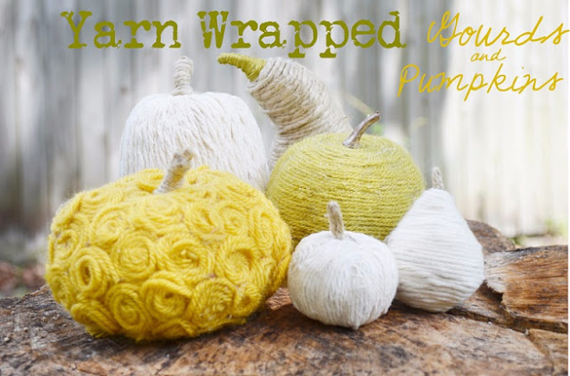 34 Pumpkin Decorations For Fall - Yarn Wrapped Pumpkins - Easy DIY Pumpkin Decor Ideas for Home, Yard, Outdoors - Cool Pumpkin Decorating Ideas for Adults and Kids Party, Creative Crafts With Paint, Glitter and No Carve Projects for Halloween