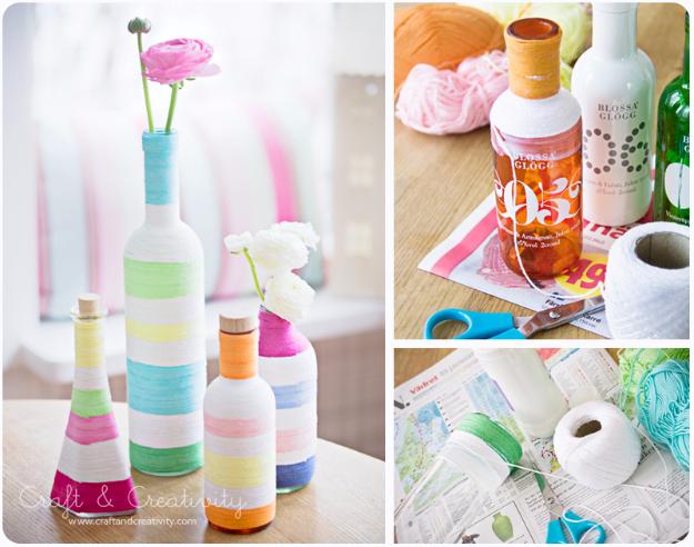 Clever DIYs Made With Yarn - Yarn Wrapped Recycled Bottles - Yarn Crafts To Try, Easy Yarn DIYs, Fun Crafts To Do With Yarn, Wall Art, Awesome Yarn Ideas, Yarn DIY Projects, Brillian Yarn Craft Tutorials http://diyjoy.com/diy-curtains-drapes