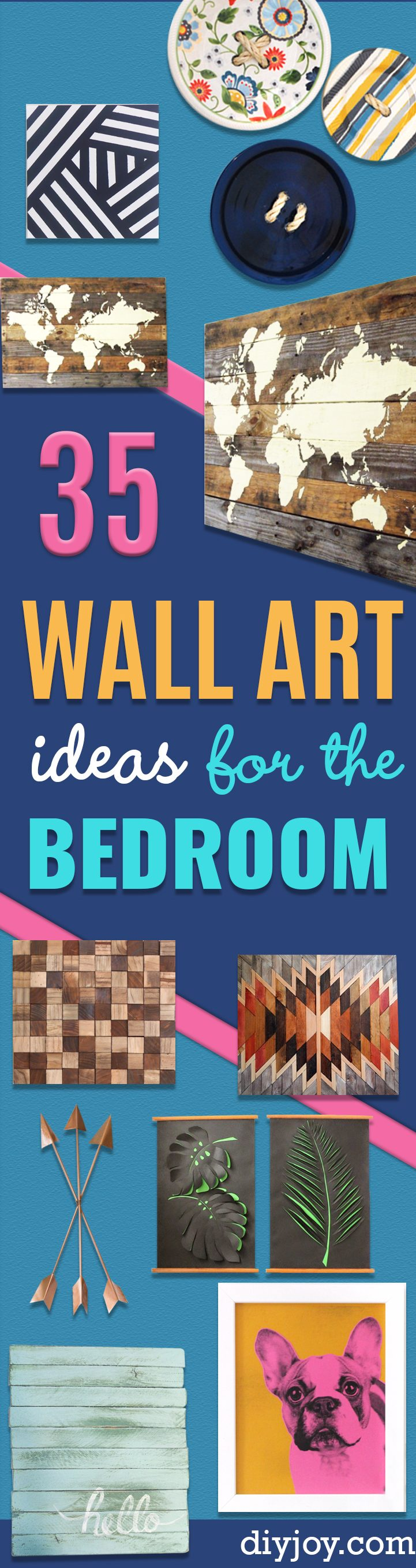 35 DIY Wall Art Ideas for the Bedroom - Rustic Decorating Projects For Bedroom, Brilliant Wall Art Projects, Creative Wall Art, Do It Yourself Crafts, Easy Wall Art, Bedroom Decor on a Budget, Bedroom - Easy Canvas Art Ideas, Painting to Make At Home, Wall Hangings
