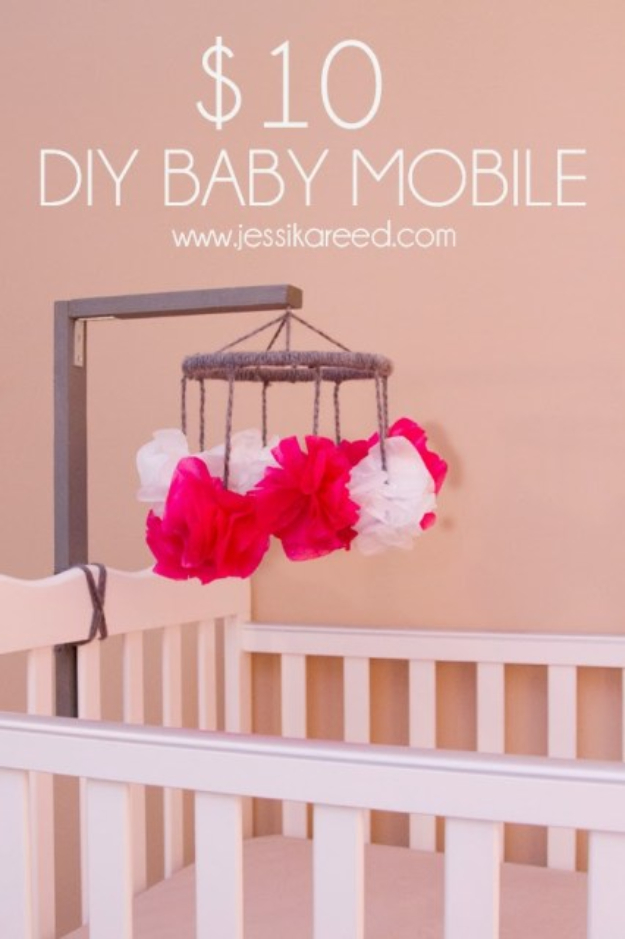 DIY Gifts for Babies - $10 DIY Baby Mobile - Best DIY Gift Ideas for Baby Boys and Girls - Creative Projects to Sew, Make and Sell, Gift Baskets, Diaper Cakes and Presents for Baby Showers and New Parents. Cool Christmas and Birthday Ideas  #diy #babygifts #diygifts #baby