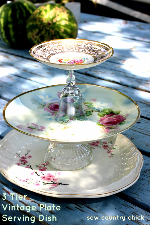 DIY Projects With Old Plates and Dishes - 3 Tier Vintage Plate Tutorial - Creative Home Decor for Rustic, Vintage and Farmhouse Looks. Upcycle With These Best Crafts and Project Tutorials #diy #kitchen #crafts