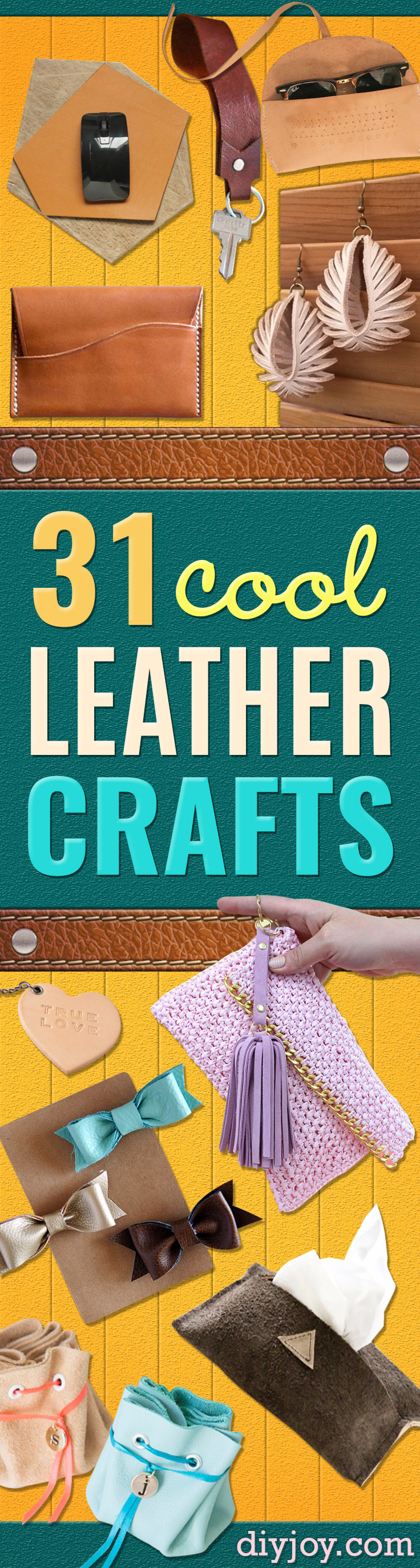 Creative Leather Crafts - Best DIY Projects Made With Leather - Easy Handmade Do It Yourself Gifts and Fashion - Cool Crafts and DYI Leather Projects With Step by Step Tutorials http://diyjoy.com/diy-leather-crafts