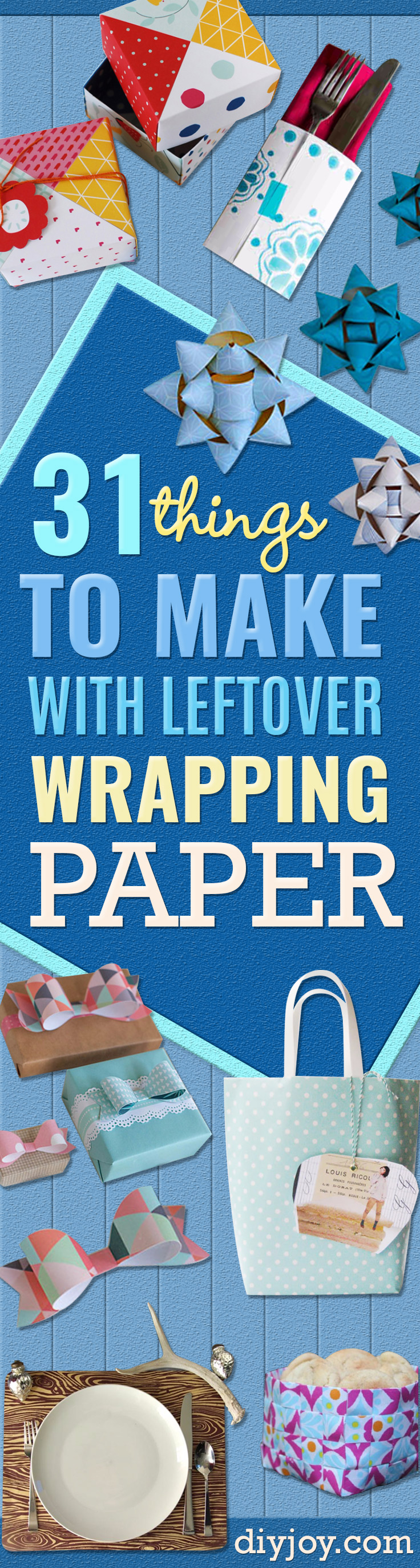 Cool Things to Make With Leftover Wrapping Paper - Easy Crafts, Fun DIY Projects, Gifts and DIY Home Decor Ideas - Don't Trash The Christmas Wrapping Paper and Learn How To Make These Awesome Ideas Instead - Step by Step Tutorials With Instructions http://diyjoy.com/diy-projects-leftover-wrapping-paper