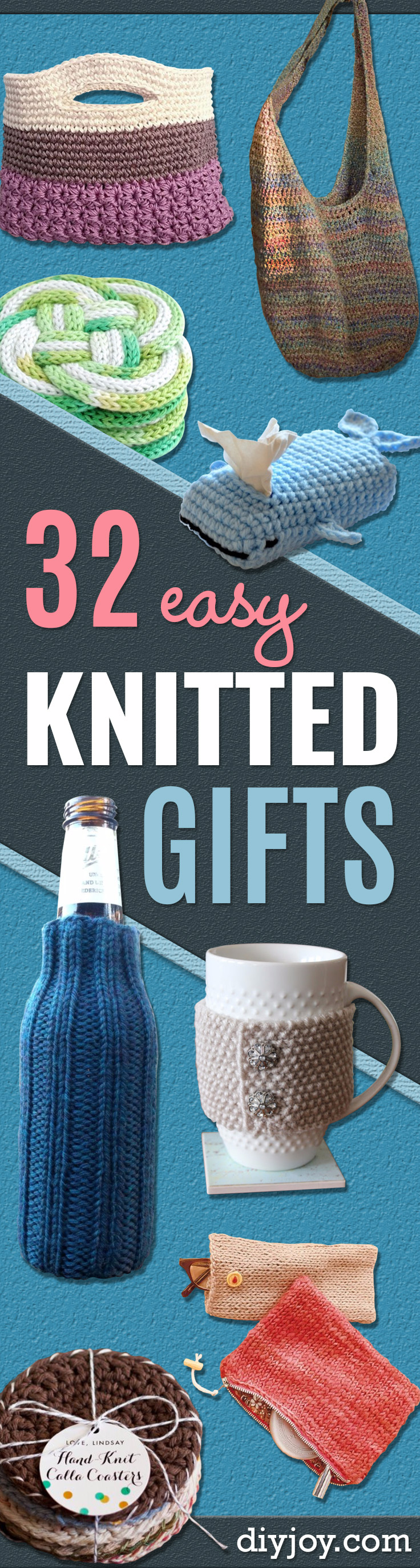 32 Easy Knitted Gifts - Last Minute Knitted Gifts, Best Knitted Gifts For Anyone, Easy Knitted Gifts To Make, Knitted Gifts For Friends, Easy Knitting Patterns For Beginners, Quick And Easy Knitting Ideas #knitting #diygifts #knit