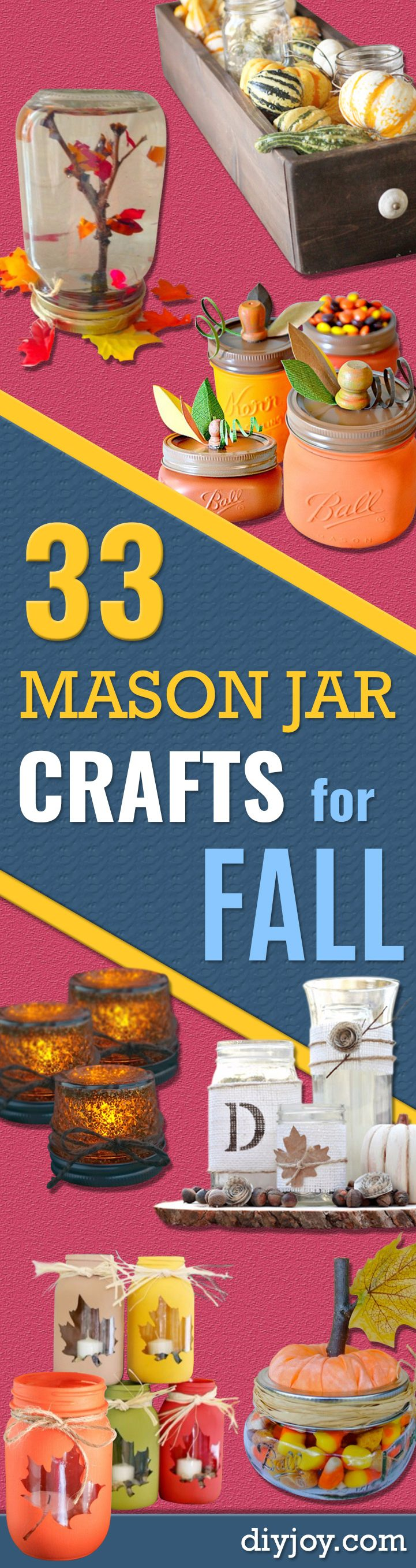 Best Mason Jar Crafts for Fall - DIY Mason Jar Ideas for Centerpieces, Wedding Decorations, Homemade Gifts, Craft Projects with Leaves, Flowers and Burlap, Painted Art, Candles and Luminaries for Cool Home Decor