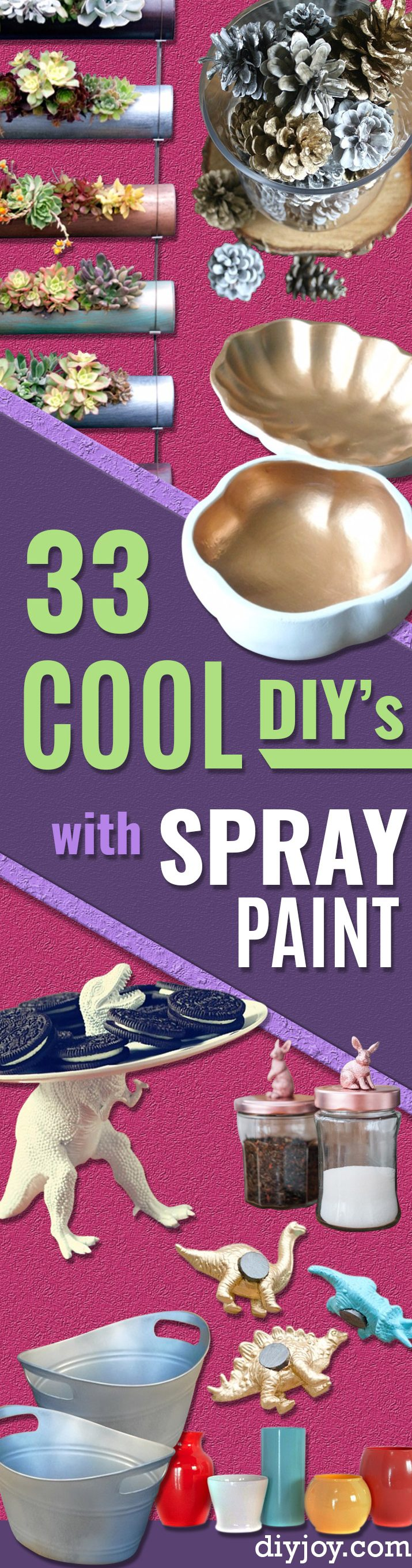 33 Cool DIYs With Spray Paint - Easy Spray Paint Decor, Fun Do It Yourself Spray Paint Ideas, Cool Spray Paint Projects To Try, Upcycled And Repurposed, Restore Old Items With Spray Paint