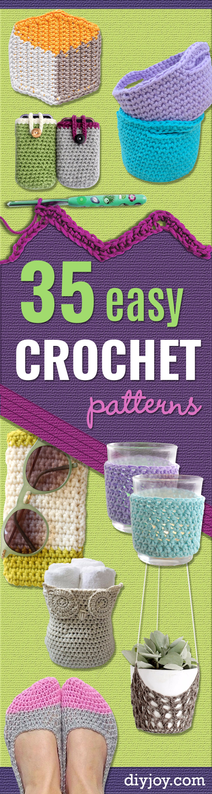 35 easy crochet patterns for Easy crafts for beginners