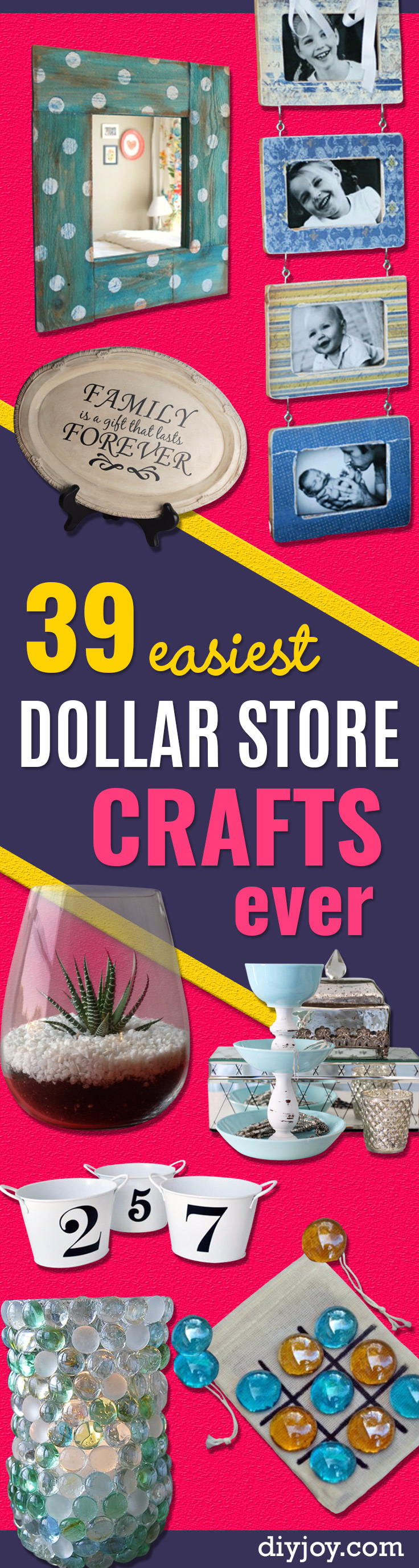 Easy Dollar Store Crafts - Quick And Cheap Crafts To Make, Dollar Store Craft Ideas To Make And Sell, Cute Dollar Store Do It Yourself Projects, Cheap Craft Ideas, Dollar Sore Decor, Creative Dollar Store Crafts