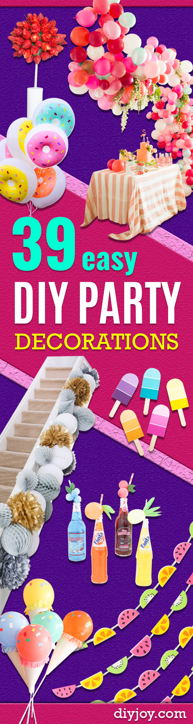 Easy DIY Party Decorations - Quick And Cheap Party Decors, Easy Ideas For DIY Party Decor, Birthday Decorations, Budget Do It Yourself Party Decorations
