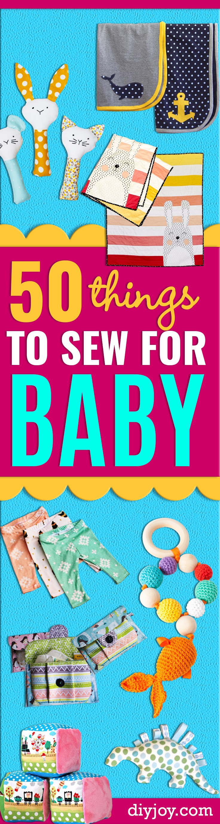 51 Things to Sew for Baby  - Cool Gifts For Baby, Easy Things To Sew And Sell, Quick Things To Sew For Baby, Easy Baby Sewing Projects For Beginners, Baby Items To Sew And Sell http://diyjoy.com/sewing-projects-for-baby
