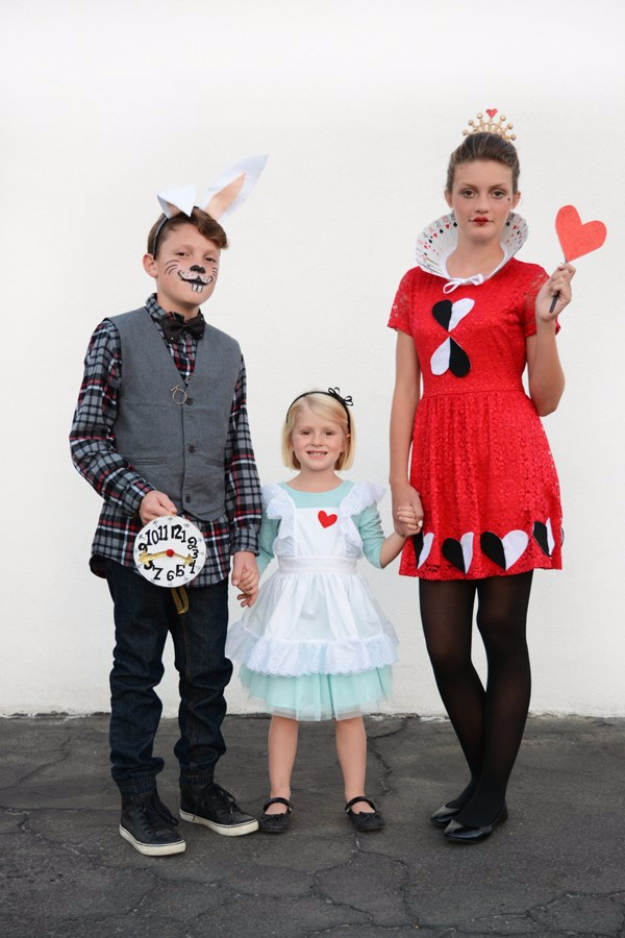 Best DIY Halloween Costume Ideas - Alice In Wonderland Costumes For Siblings - Do It Yourself Costumes for Women, Men, Teens, Adults and Couples. Fun, Easy, Clever, Cheap and Creative Costumes That Will Win The Contest