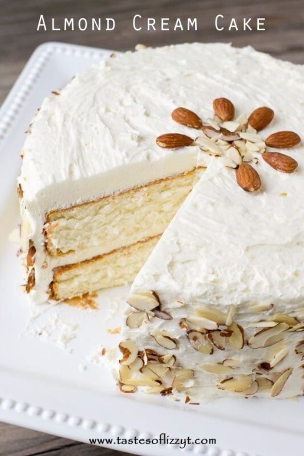 41 Best Homemade Birthday Cake Recipes - Almond Cream Cake - Birthday Cake Recipes From Scratch, Delicious Birthday Cake Recipes To Make, Quick And Easy Birthday Cake Recipes, Awesome Birthday Cake Ideas