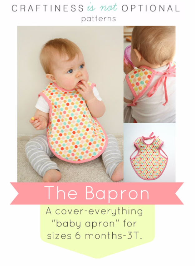 51 Things to Sew for Baby - Baby Apron Tutorial - Cool Gifts For Baby, Easy Things To Sew And Sell, Quick Things To Sew For Baby, Easy Baby Sewing Projects For Beginners, Baby Items To Sew And Sell #baby #diy #diygifts