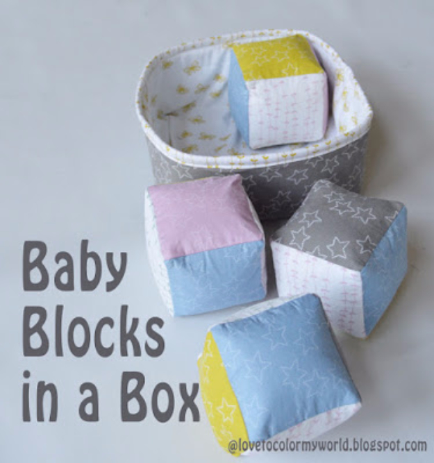 51 Things to Sew for Baby - Baby Blocks In A Box - Cool Gifts For Baby, Easy Things To Sew And Sell, Quick Things To Sew For Baby, Easy Baby Sewing Projects For Beginners, Baby Items To Sew And Sell #baby #diy #diygifts