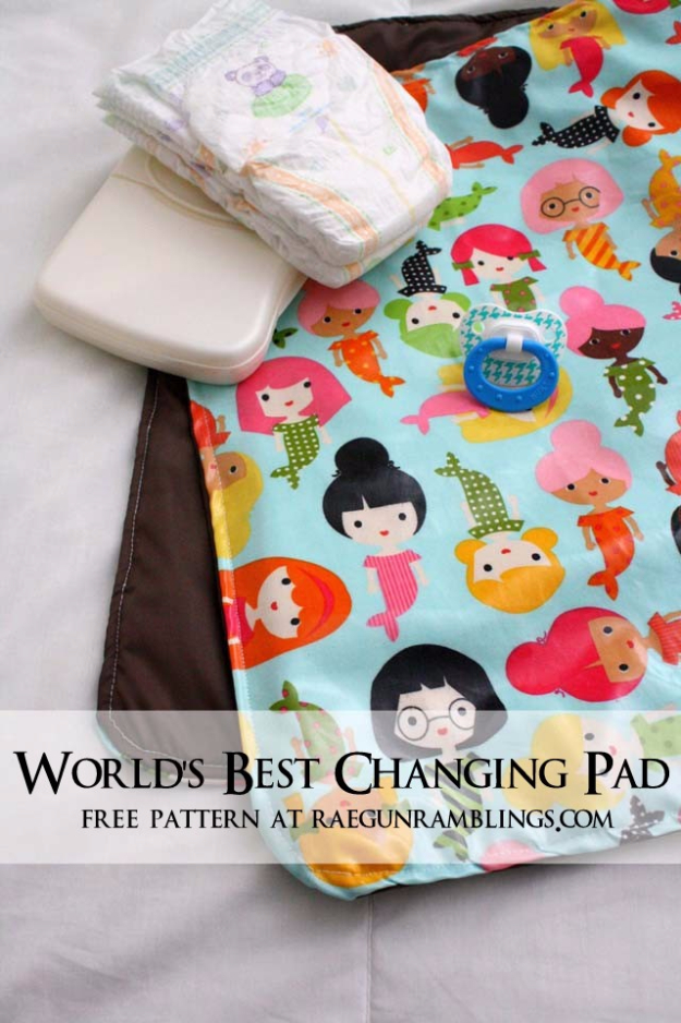 51 Things to Sew for Baby - Baby Changing Pad - Cool Gifts For Baby, Easy Things To Sew And Sell, Quick Things To Sew For Baby, Easy Baby Sewing Projects For Beginners, Baby Items To Sew And Sell #baby #diy #diygifts