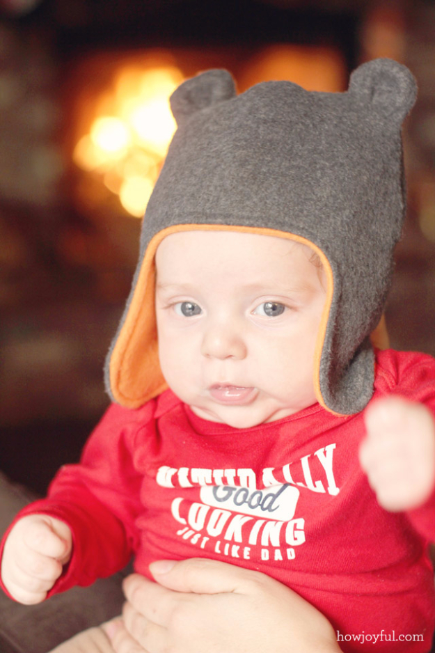 51 Things to Sew for Baby - Baby Hat With Teddy Bear Ears - Cool Gifts For Baby, Easy Things To Sew And Sell, Quick Things To Sew For Baby, Easy Baby Sewing Projects For Beginners, Baby Items To Sew And Sell #baby #diy #diygifts