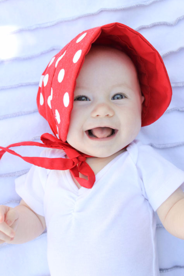 51 Things to Sew for Baby - Baby Sun Bonnet - Cool Gifts For Baby, Easy Things To Sew And Sell, Quick Things To Sew For Baby, Easy Baby Sewing Projects For Beginners, Baby Items To Sew And Sell #baby #diy #diygifts