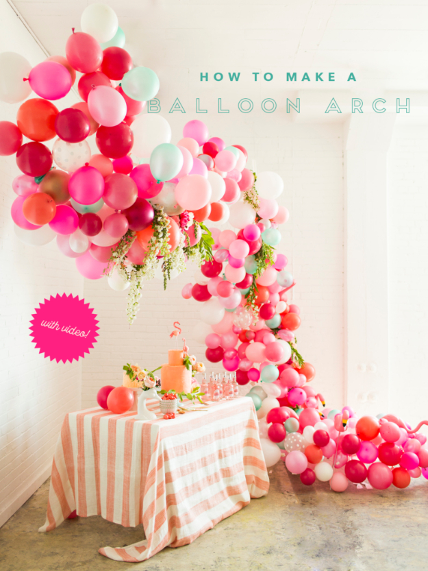 39 Easy DIY Party Decorations - Balloon Arch - Quick And Cheap Party Decors, Easy Ideas For DIY Party Decor, Birthday Decorations, Budget Do It Yourself Party Decorations http://diyjoy.com/easy-diy-party-decorations