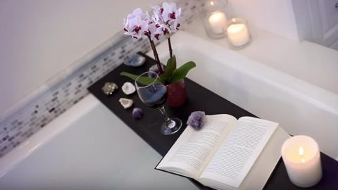 She Makes A Bath Tub Shelf For Relaxation And Enjoyment Easy And Cheap! | DIY Joy Projects and Crafts Ideas