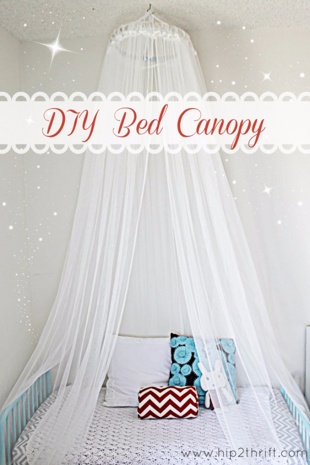 DIY Room Decor Ideas for Girl Rooms - Easy Bed Canopy DIY Bedroom Decor for Girls- Cheap Do It Yourself Room Decor For Girls, Room Decorating Ideas, Creative Room Decor For Girls, Bedroom Accessories, Cute Room Decor For Teen Girls