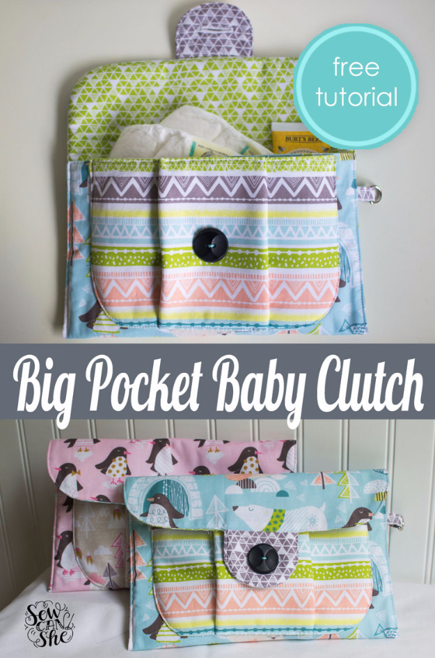 51 Things to Sew for Baby - Big Pocket Baby Clutch - Cool Gifts For Baby, Easy Things To Sew And Sell, Quick Things To Sew For Baby, Easy Baby Sewing Projects For Beginners, Baby Items To Sew And Sell #baby #diy #diygifts