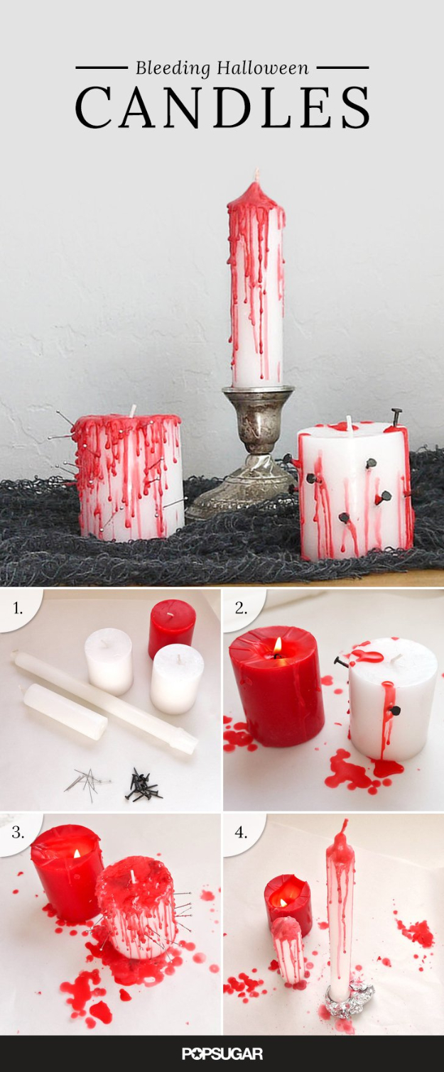 DIY Halloween Decorations - Bleeding Halloween Candles - Best Easy, Cheap and Quick Halloween Decor Ideas and Crafts for Inside and Outside Your Home - Scary, Creepy Cute and Fun Outdoor Project Tutorials