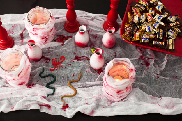 DIY Halloween Decorations - Blood Splattered Table Runner - Best Easy, Cheap and Quick Halloween Decor Ideas and Crafts for Inside and Outside Your Home - Scary, Creepy Cute and Fun Outdoor Project Tutorials http://diyjoy.com/cheap-diy-halloween-decorations
