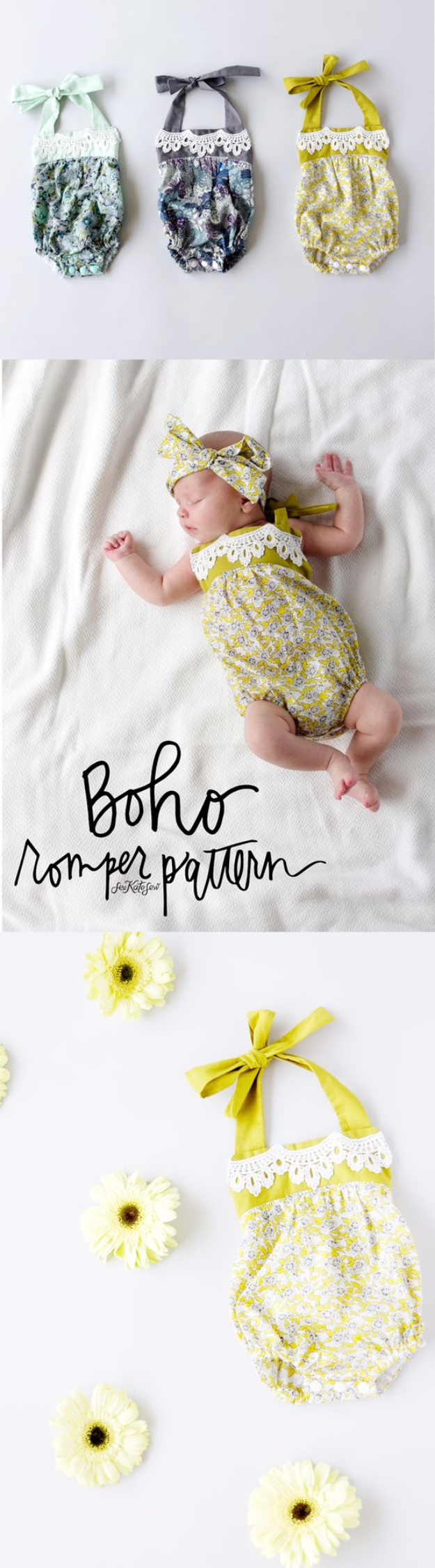 51 Things to Sew for Baby - Boho Baby Romper - Cool Gifts For Baby, Easy Things To Sew And Sell, Quick Things To Sew For Baby, Easy Baby Sewing Projects For Beginners, Baby Items To Sew And Sell #baby #diy #diygifts