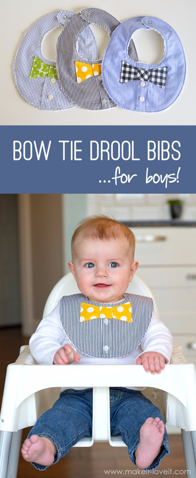 DIY Gifts for Babies - Bow Tie Drool Bibs - Best DIY Gift Ideas for Baby Boys and Girls - Creative Projects to Sew, Make and Sell, Gift Baskets, Diaper Cakes and Presents for Baby Showers and New Parents. Cool Christmas and Birthday Ideas #diy #babygifts #diygifts #baby
