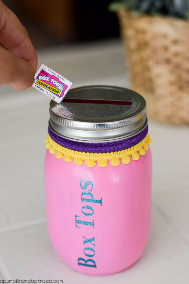 Mason Jar Crafts You Can Make In Under an Hour - Box Tops Mason Jar - Quick Mason Jar DIY Projects that Make Cool Home Decor and Awesome DIY Gifts - Best Creative Ideas for Mason Jars with Step By Step Tutorials and Instructions - For Teens, For Home, For Gifts, For Kids, For Summer, For Fall http://diyjoy.com/quick-mason-jar-crafts