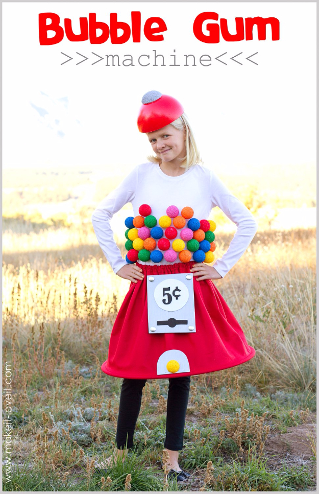 Best DIY Halloween Costume Ideas - Bubblegum Machine Costume - Do It Yourself Costumes for Women, Men, Teens, Adults and Couples. Fun, Easy, Clever, Cheap and Creative Costumes That Will Win The Contest