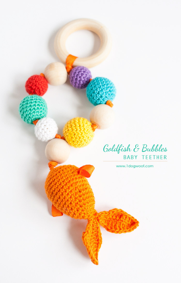 51 Things to Sew for Baby - Bubbles And Goldfish Teether - Cool Gifts For Baby, Easy Things To Sew And Sell, Quick Things To Sew For Baby, Easy Baby Sewing Projects For Beginners, Baby Items To Sew And Sell #baby #diy #diygifts