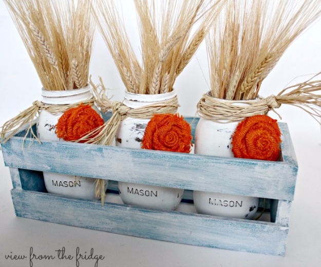 Best Mason Jar Crafts for Fall - Burlap ROsettes Fall Mason Jar - DIY Mason Jar Ideas for Centerpieces, Wedding Decorations, Homemade Gifts, Craft Projects with Leaves, Flowers and Burlap, Painted Art, Candles and Luminaries for Cool Home Decor