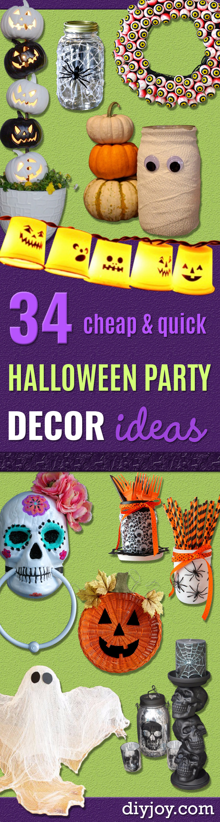 DIY Halloween Decorations - Best Easy, Cheap and Quick Halloween Decor Ideas and Crafts for Inside and Outside Your Home - Scary, Creepy Cute and Fun Outdoor Project Tutorials http://diyjoy.com/cheap-diy-halloween-decorations