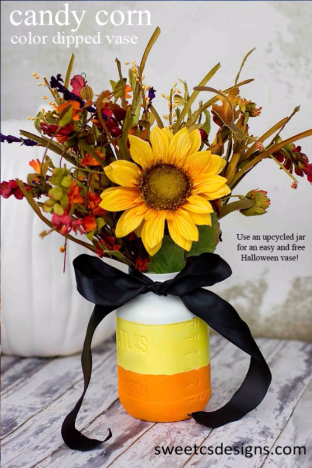 Best Mason Jar Crafts for Fall - Candy Corn Color Dipped Vase - DIY Mason Jar Ideas for Centerpieces, Wedding Decorations, Homemade Gifts, Craft Projects with Leaves, Flowers and Burlap, Painted Art, Candles and Luminaries for Cool Home Decor