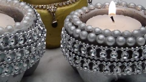 Watch How She Creates These Stunning Cement Candle Holders Easy And