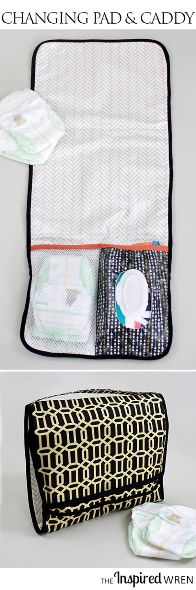 51 Things to Sew for Baby - Changing Pad And Diaper Caddy - Cool Gifts For Baby, Easy Things To Sew And Sell, Quick Things To Sew For Baby, Easy Baby Sewing Projects For Beginners, Baby Items To Sew And Sell #baby #diy #diygifts