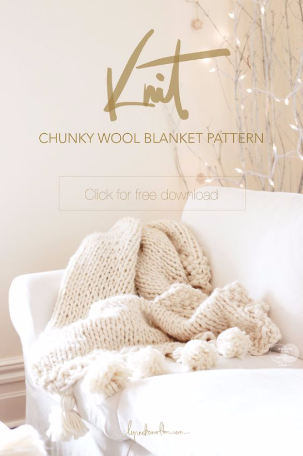 32 Easy Knitted Gifts - Chunky Wool Blanket - Last Minute Knitted Gifts, Best Knitted Gifts For Anyone, Easy Knitted Gifts To Make, Knitted Gifts For Friends, Easy Knitting Patterns For Beginners, Quick Knitting Ideas #knitting #gifts #diygifts