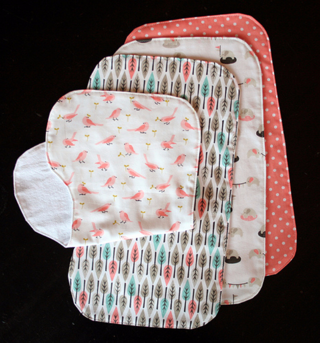 DIY Gifts for Babies - Contoured Burp Cloths - Best DIY Gift Ideas for Baby Boys and Girls - Creative Projects to Sew, Make and Sell, Gift Baskets, Diaper Cakes and Presents for Baby Showers and New Parents. Cool Christmas and Birthday Ideas #diy #babygifts #diygifts #baby